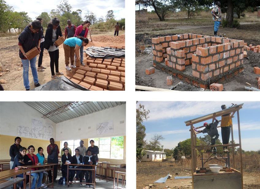 Construction of community hall and dry compost toilet